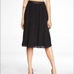 NWT Express Faux Leather Trim Chiffon Midi Skirt
